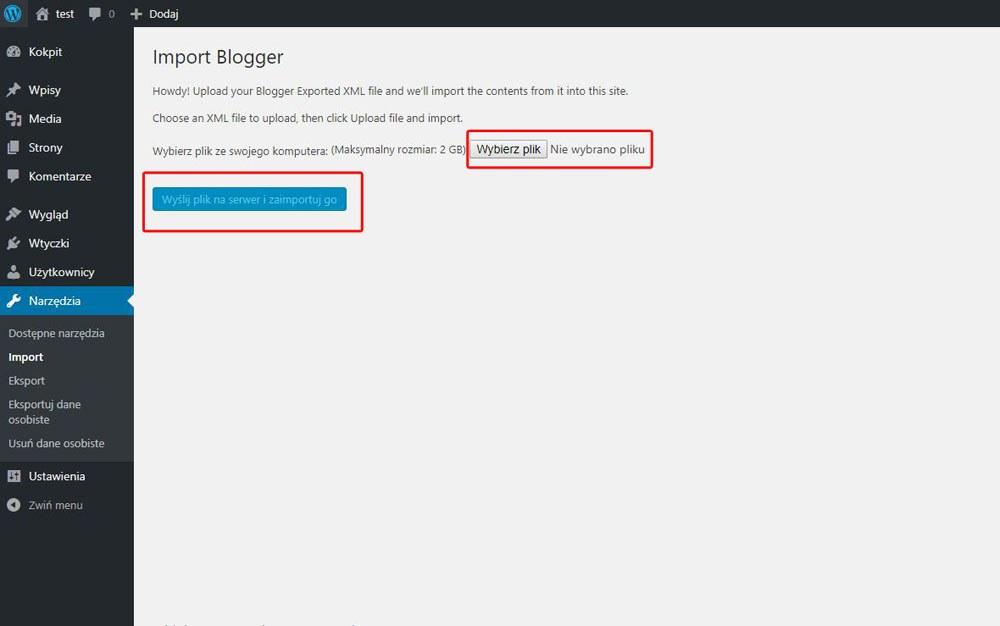 jak przenieść stronę blogspot wordpress