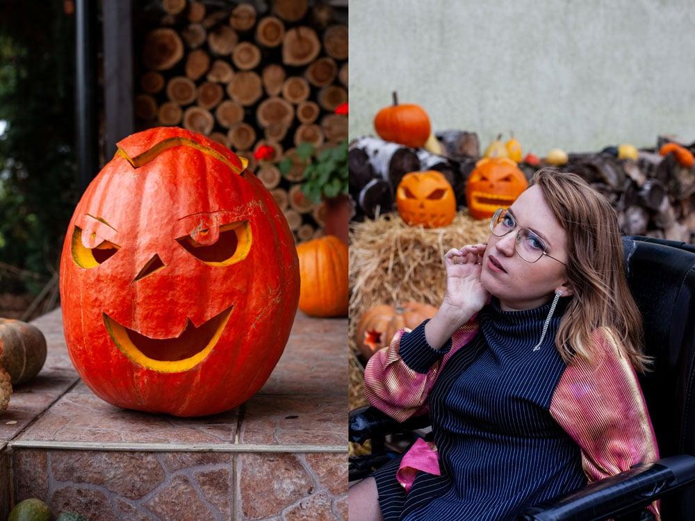 jesienna stylizacja z dyniami