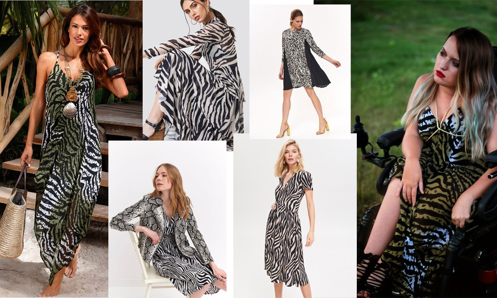 jak nosić sukienkę we wzór zebry latem 2019