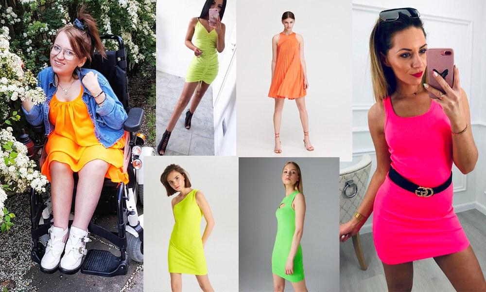 neonowe sukienki na wakacje 2019 - jak nosić